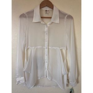 3/$25 Six Degrees Sheer Chiffon White Top